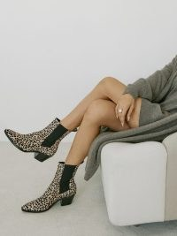 REFORMATION Ophelia Western Chelsea Boot in Cheetah Dot ~ animal print cowboy boots