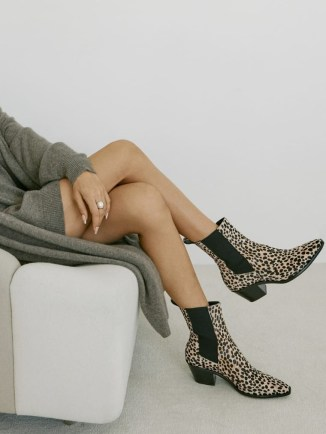 REFORMATION Ophelia Western Chelsea Boot in Cheetah Dot ~ animal print cowboy boots - flipped
