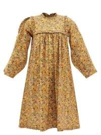 KIKA VARGAS Floral-print cotton-blend poplin dress in orange / vintage style long sleeve ruffle yolk dresses