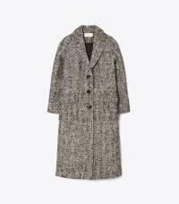 TORY BURCH OVERSIZED TWEED COAT in Black / Ivory ~ women's designer winter coats ~ womens menswear style outerwear