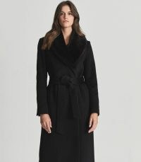 PACEY FAUX FUR SHAWL COLLAR OVERCOAT BLACK ~ chic belted tie waist coats
