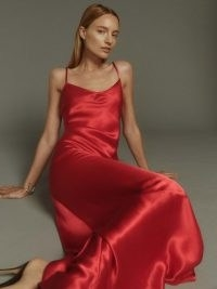 Reformation Parma Dress in Lipstick – red silk charmeuse slip dresses