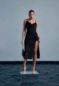 peace + love black sequin cowl neck midi dress / strappy sequinned party dresses / thigh high split hem evening fashion