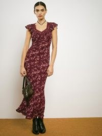 REFORMATION Pearce Dress in Currant / floral lightweight georgette fitted slip dresses