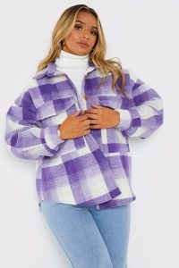 PERRIE SIAN PURPLE CHECK SHACKET ~ women's checked shirt jackets ~ on-trend celebrity inspired fashion ~ womens shackets