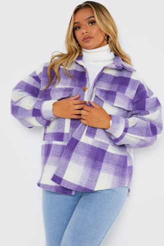 PERRIE SIAN PURPLE CHECK SHACKET ~ women's checked shirt jackets ~ on-trend celebrity inspired fashion ~ womens shackets - flipped