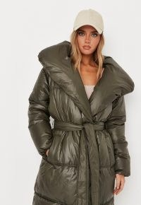 MISSGUIDED petite olive padded duvet puffer coat ~ womens green on trend tie waist coats ~ women's fashionable winter outerwear