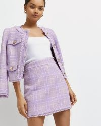 River Island Petite purple check boucle mini skirt – tweed style skirts