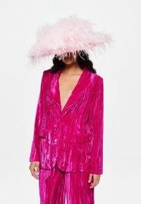 MISSGUIDED pink co ord crinkle velvet tailored blazer ~ bright soft feel blazers ~ women's fashionable vibrant coloured jackets