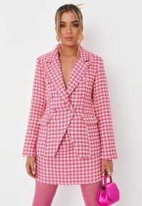 MISSGUIDED pink co ord houndstooth boucle military blazer / dogtooth check blazers / womens on-trend checked jackets