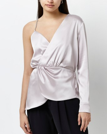 RIVER ISLAND Pink diamante trim one shouldered satin top ~ glamorous asymmetric one sleeve tops - flipped