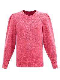 ISABEL MARANT Emma pleated-shoulder pink mohair-blend sweater ~ puff sleeve sweaters ~ vintage style jumpers