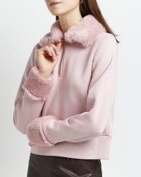 RIVER ISLAND PINK FAUX FUR TRIM SWEATSHIRT / womens pullover sweatshirts