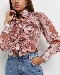 RIVER ISLAND Pink floral ruffled blouse ~ romantic ruffled front blouses ~ feminine frill detail shirts