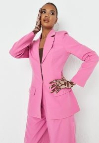 MISSGUIDED pink hook and eye front fitted blazer ~ candy coloured blazers
