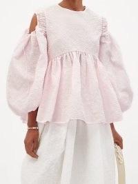 CECILIE BAHNSEN Janis peplum-hem frost-cloqué top in pink | feminine volume sleeve tops | romantic cut out blouses