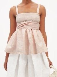 CECILIE BAHNSEN Josie peplum-hem cotton-blend matelassé top in pink | feminine square neck tops | romance inspired fashion