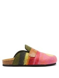 JW ANDERSON Landscape felted-wool backless penny loafers