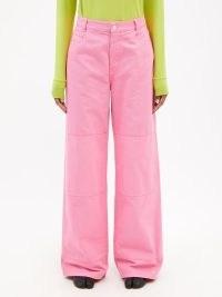 RAF SIMONS Logo-patch panelled straight-leg jeans in pink ~ womens designer denim fashion