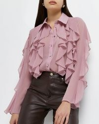 RIVER ISLAND Pink long sleeve frill chiffon shirt ~ romantic ruffled shirts