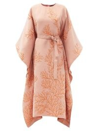 TALLER MARMO Los Corales belted jacquard dress in pink ~ wide sleeve tie waist kimono style dresses ~ draped occasion fashion