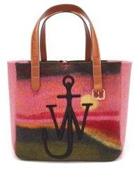 JW ANDERSON Northern Lights-print wool-blend felt tote bag in pink