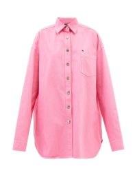 RAF SIMONS Oversized logo-embroidered pink cotton shirt ~ womens casual designer shirts