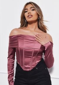 MISSGUIDED pink satin bardot corset top – structured fitted bodice off the shoulder tops