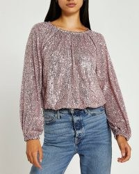 RIVER ISLAND PINK SEQUIN GATHERED BLOUSE ~ sequinned blouses / tops