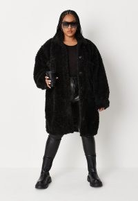 MISSGUIDED plus size black borg longline shacket / faux shearling shackets / fluffy textured shirt jackets