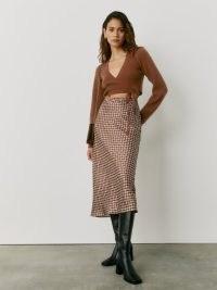 Reformation Pratt Skirt in Plaza | luxe style printed lightweight silk charmeuse skirts