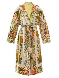ETRO Pasadena floral-print velvet coat – luxe bohemian inspired tie waist coats – chic boho fashion