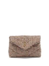 SAINT LAURENT Puffer YSL-logo plaque padded tweed clutch bag / textured fabric envelope bags / small chic designer handbags