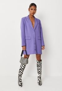 MISSGUIDED purple button blazer dress – plunge front jacket dresses – glamorous going out look