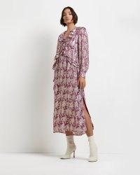 RIVER ISLAND Purple floral metallic midi dress ~ romantic ruffle detail split hem dresses