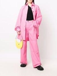 Raf Simons oversized denim shirt ~ pink drop shoulder curved hem shirts ~ relaxed fit fashion