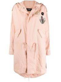 Rihanna pink parka, Raf Simons photograph-print hooded coat, having dinner at Giorgio Baldi in Santa Monica, 26 October 2021 | celebrity street style fashion | what celebrities are wearing now | star coats | womens designer parkas