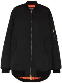Raf Simons ALLEGIANCE black oversized bomber jacket | womens casual relaxed fit jackets