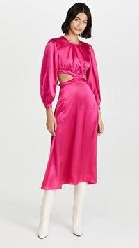 Rahi Cierra Cut Out Midi Dress ~ fuchsia-pink satin cutout dresses