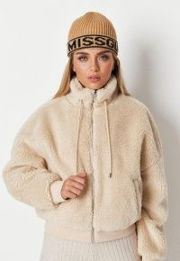 MISSGUIDED recycled stone teddy borg bomber – textured faux shearling high neck jackets
