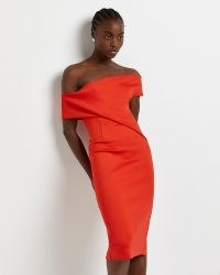 River Island Red bardot bodycon midi dress – fitted drape detail off the shoulder dresses – glamorous evening fashion