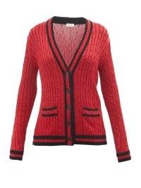 SAINT LAURENT Metallic cable-knit cardigan in red ~ womens designer cardigans