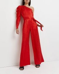 River Island Red one shouldered wide leg jumpsuit – vivid one long sleeve jumpsuits – bright evening all-in-one fashion – party glamour