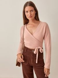 REFORMATION Relaxed Cashmere Wrap in Blush ~ pale pink tie waist sweater ~ luxe style knitwear