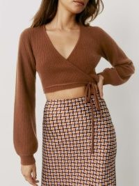 REFORMATION Remus Cashmere Wrap Sweater in Cinnamon ~ cropped brown-tone wrap around tie waist sweaters ~ knitted crop tops