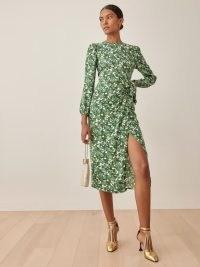 REFORMATION Reza Dress in Autumnal ~ green floral tie waist dresses ~ feminine fashion