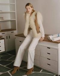NILI LOTAN RINGO SHEARLING VEST ~ luxe gilet inspired vests ~ fluffy 70s vintage style sleeveless jackets ~ womens retro winter gilets