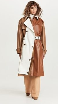 ROKH Panel Trench Coat Brown/Ivory ~ chic faux leather colour block belted coats ~ womens designer outerwear