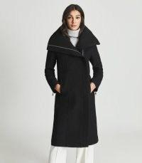 REISS ROXI WOOL COAT BLACK ~ chic winter coats ~ womens stylish zip detail outerwear