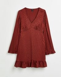 RIVER ISLAND Rust leopard print jacquard mini dress ~ wide fluted sleeve ruffle trim dresses ~ empired waist